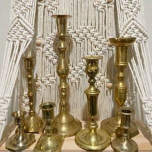 Vintage Brass Candlesticks 5lb Box Set of 7